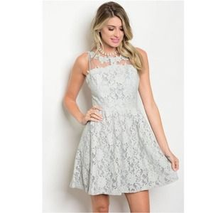 Gray Lace Skater Fit and Flare Dress